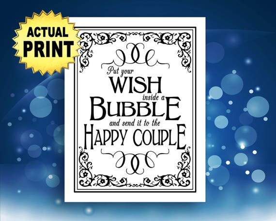 Wedding Bubbles Sign, Black and white wedding signs, Wish inside a bubble for the happy couple wedding signage, traditional wedding sign