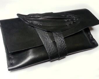 black leather pouch money pouch tobacco etui, unique, mobile case, gadget pouch unique