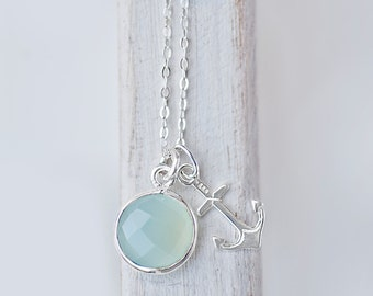 Sterling Silver Anchor Necklace - Aqua Mint or Bright Turquoise Nautical Jewelry   Minimalist