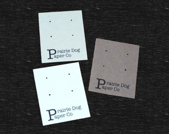 Post earring cards, set of 30, personalized earring card, jewelry supply, 2x2.5 inch, printed jewelry card