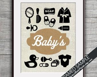 Baby Bathroom Print - Art Print (Featured in Brown Bag) Washroom and Bath Prints
