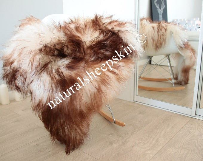 Real Icelandic Sheepskin Rug Super soft - white with brown tips
