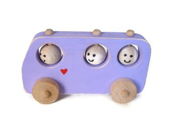 Handcrafted Wooden Toy Bus - Wood Toy Bus - Purple Wooden Bus, School Bus
