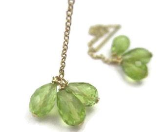 Peridot Threader Earrings - Green Gemstone Earrings - Long Gold Chain Ear Threads - August