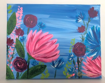 March Florals No. 1: Original 8x11in acrylic fine art painting. Fine art floral painting. One of set of three.