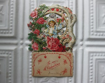 Vintage 1920s Fold Out Valentine Card, Romantic, Sailor, Floral and Gorgeous