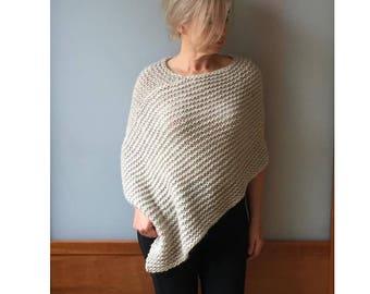 Knit poncho-Alpaca poncho-Wool knit poncho-Knit alpaca poncho-Women Alpaca wrap-Wool poncho-Hand knit alpca poncho-JPalKnits