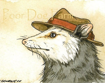 Possum in a hat -- signed watercolor print