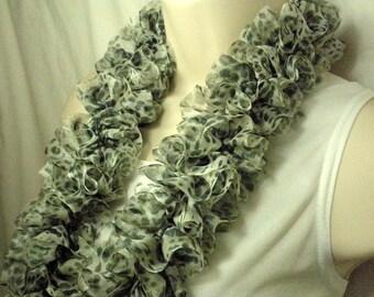 Leopard Print Ruffled Fashion Knit Scarf