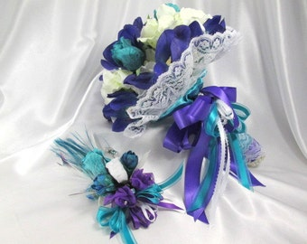 Aqua Turquoise and Purple Cymbidium Orchids Bridal Bouquet and Boutonniere Set ready to ship