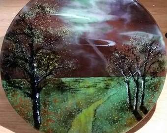 Fused Glass Landscape Art Wall Hanging Trees Moon Night