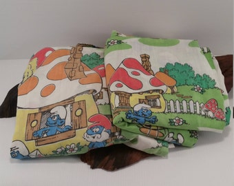 Vintage Smurf Twin Sheet Set Top and Bottom, Vintage Twin Smurf Town Sheets Bottom and Top, Vintage Smurf Sheets Twin