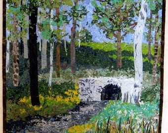 Art Quilt  Landscape  Bridge Wall Hanging Original Art Confetti Fabric Painting