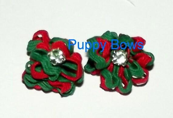 Puppy Bows ~TINY CHRISTMAS rhinestone FLOWER dog bow  pet hair bow Maltese  (fb3)