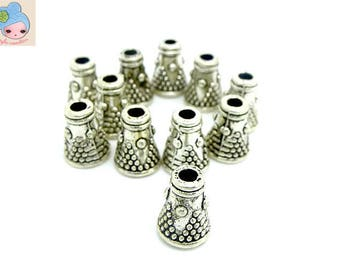 10 silver Cone bead caps 7mm Tibetan: Cape 0020