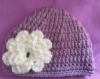 Toddler Hand Crocheted Lavendar Beanie with Ivory Coloured Flower Ages 12 mos-3 years old 326