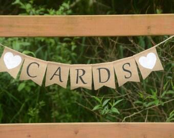 Cards banner - wedding banner, gift banner, burlap banner, country wedding