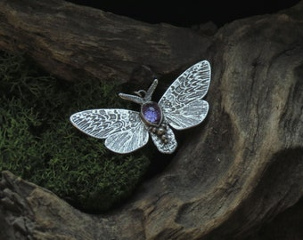Moth Necklace - Silver Butterfly Necklace - Silver Moth Necklace - Iolite Moth Necklace