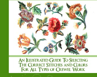 Learn What Stitches Colors and How To Use Them RARE  illustrated JACOBEAN EMBROIDERY Tutorial Book Printable 5 Star Reviews Instant Download