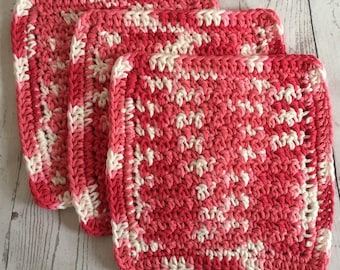 Pink Wash Cloths Cotton Dish Cloths Baby Cloths Crochet Wash Cloth Shades of Pink Set of 3 Made to Order