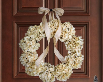 Cream Hydrangea Wreath | Front Door Wreaths | Winter Wreaths | Spring Wreath | Wedding Wreaths | Outdoor Wreath