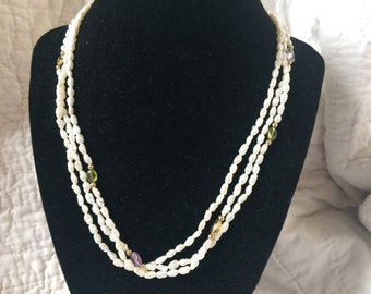 Vintage Freshwater Pearl 3 Strand Necklace with Goldtone Clasp, 18'' Long