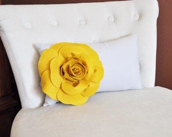 Decorative Mustard Rose on Light Gray Lumbar Pillow