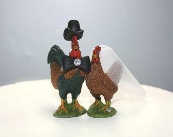 Chicken and Rooster Cake Topper - Wedding Cake Topper - Bride and Groom - Country Wedding - Barnyard Animals - Farmer - Wedding Topper