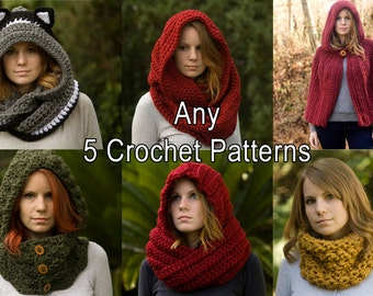 Any Five 5 Crochet Patterns, Scarf Patterns Discount Package