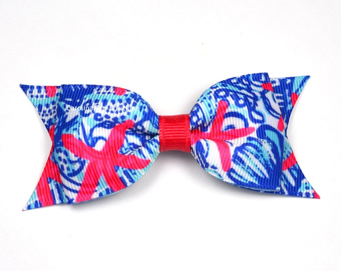 "She She Shells Bow  ~ 3.5"" Hairbow ~ Lilly Inspired ~ Small Hair Bow ~ Girls Barrette ~ Toddler Bow ~ Hair Clip ~ Girls Hair Bow"