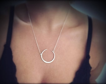 Crescent, moon necklace.Sterling silver moon necklace.