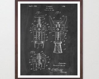 Cork Screw - Cork Screw Patent - Wine - Wine Patent - Wine Poster - Wine Art - Wine Print - Wine Decor - Wine Tasting - Alcohol - Bar