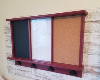 Message Board with Magnetic Dry Erase Board, Chalkboard, Cork Board with shelf , Furniture