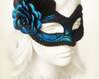 Metallic Blue & Black Lace Masquerade Mask  -  Blue Venetian Mask With Feathers And Rose - Blue Lace Masquerade Ball Mask - Black Lace Mask