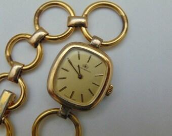 Ladies Swiss Bucherer 17 Jewel straight wind mechanical Watch, Gold tone
