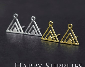 Nickel Free - High Quality Triangle Golden / Silver Brass Earring Posts Finding With Ear Studs Back Stoppers (ZEN008)