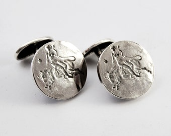 Zeus and Europe cufflinks - sterling silver
