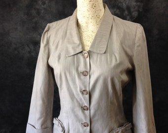 Vintage 1950's Charles F Berg brown and white micro stripe cotton summer jacket