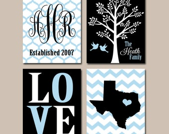 Family Tree State Wall Art CANVAS or Print Family Monogram Wall Decor Personalized Wedding Gift Wedding Anniversary Gift Set of 4 Art  sc 1 st  Etsy & Family Tree State Wall Decor Family Monogram Wall Art
