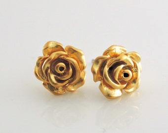 Gold Earrings - Rose Earrings - Stud Earrings - Bridesmaid Earrings - Post Earrings