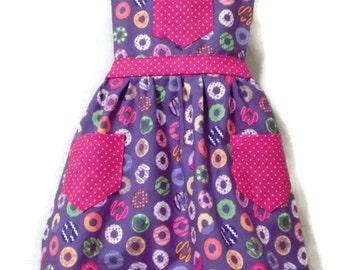 Donut Apron, Children Apron, Toddler apron, Girl Apron, Baking Apron, Cooking Apron, Kids Apron, Little Girls Apron, Retro Style Apron