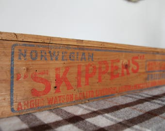 """Vintage Advertising Crate, Original Condition, Wooden, Shabby, """"Norwegian Skippers, Dainty & Deliciouse"""""""