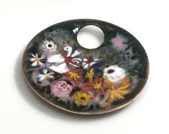 Enameled Copper Art Pendant, Impressionistic Flower Garden in Bright Joyful Colors, Hot Glass Vitreous Enamel on Handmade Pendant, OOAK