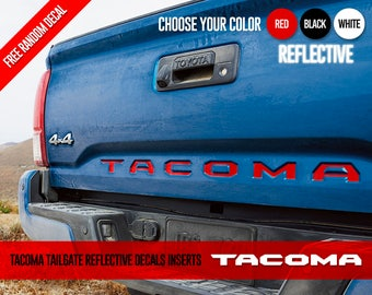 2016 2017 Toyota Tacoma Tailgate REFLECTIVE Vinyl Letter Inserts Decals Stickers