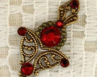 Crimson & Oxidized Brass Bindi