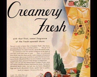 1932 Butter Ad - Swift's Brookfield - Creamery Fresh - Bisquick Ad on Reverse - Wall Art - Kitchen Cooking Decor - Retro Vintage Advertising