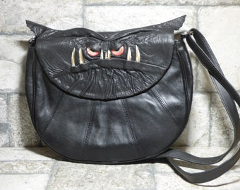 Cross Body Adjustable Purse With Face Monster Black Leather Harry Potter Labyrinth 443
