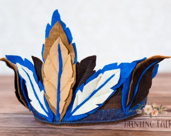 Blue Feathers Woodland Fairy Crown for Pretend Play