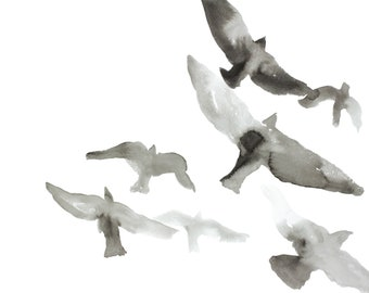 birds in flight no. 3 . original ink painting