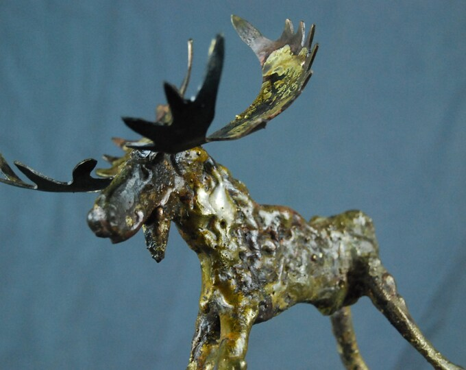 Made to Order Custom Little Long Legged Moose Small Braised on Bronze Metal Sculpture By Jacob Novinger